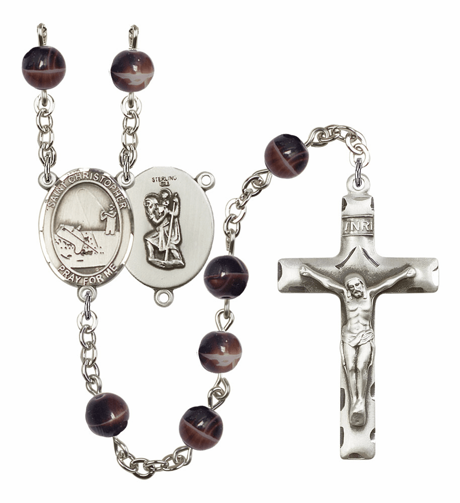 St Christopher Fishing Silver Plate 7mm Brown Gemstone Prayer Rosary by Bliss