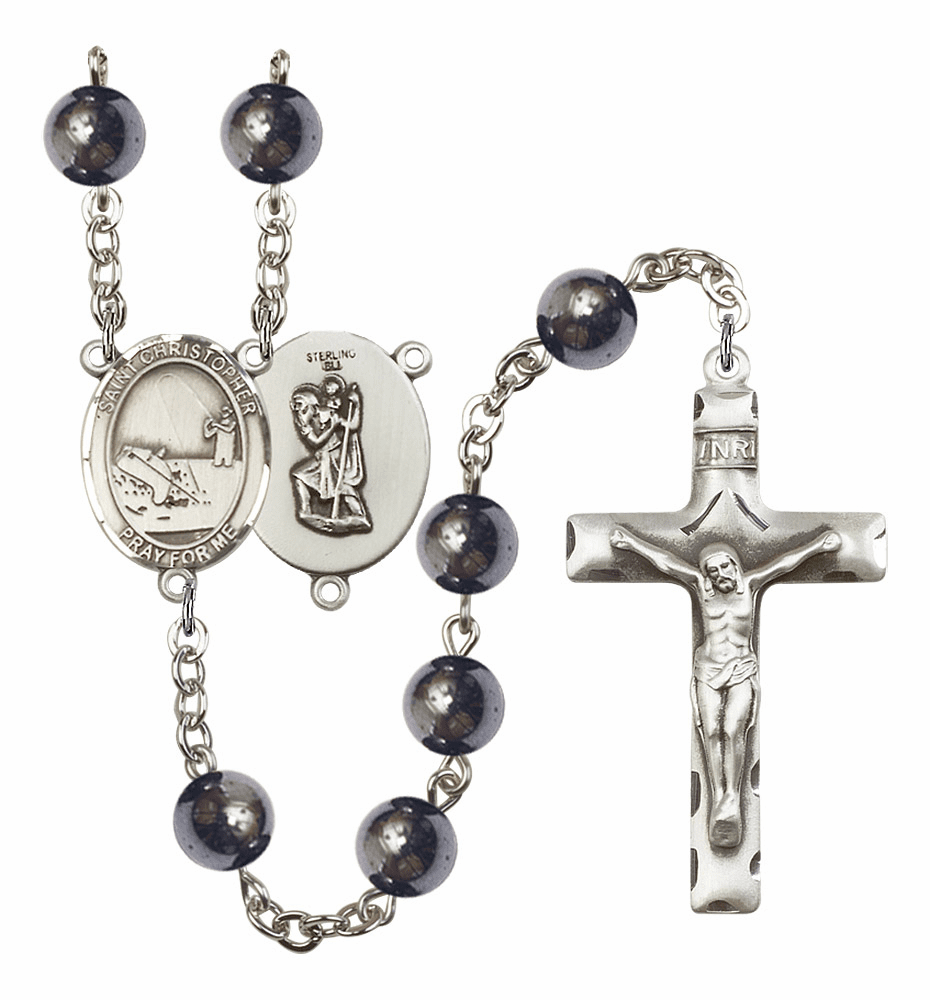 St Christopher Fishing Silver Plate 8mm Hematite Gemstone Prayer Rosary by Bliss