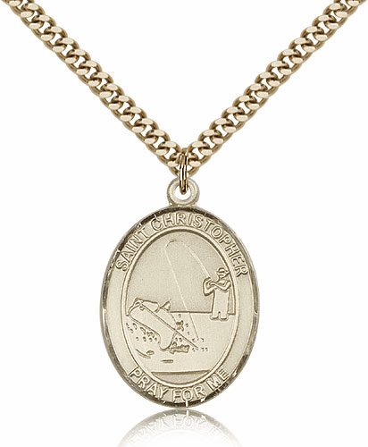 St Christopher Fishing Sports 14kt Gold-Filled Pendant Necklace by Bliss