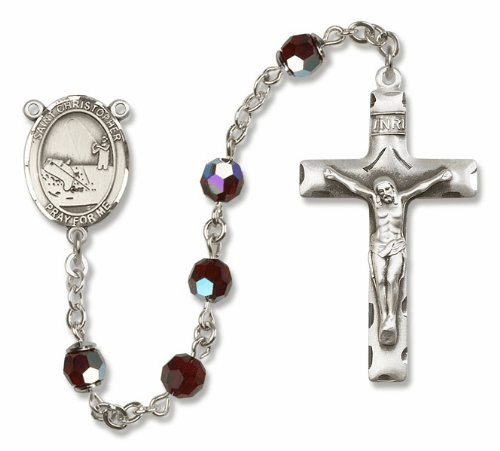 St Christopher Fishing Sterling Silver Saint Rosary
