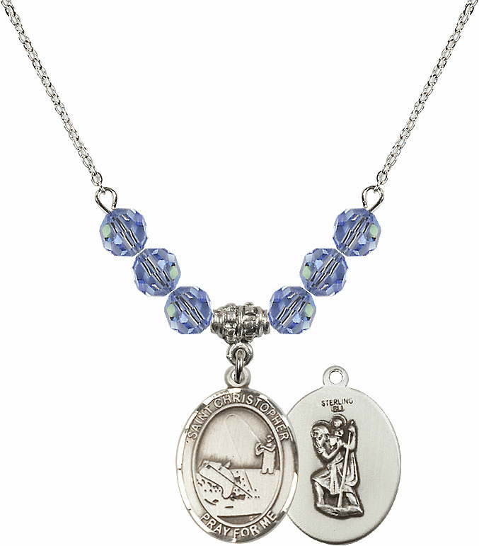 St Christopher Fishing Swarovski Crystal Beaded Patron Saint Necklace by Bliss Mfg