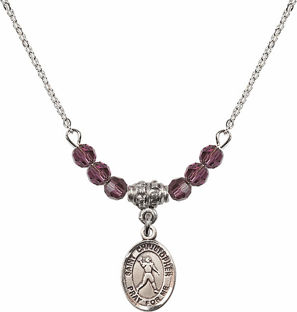 St Christopher Football 4mm Swarovski Crystal February Amethyst Necklace by Bliss Mfg