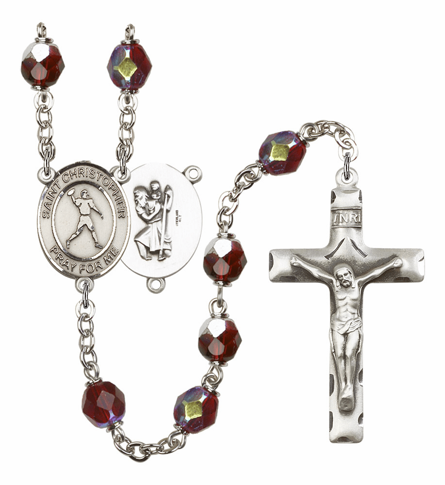 St Christopher Football 7mm Lock Link AB Garnet Rosary by Bliss Mfg