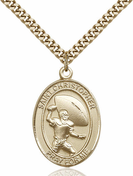 St Christopher Football Player 14kt Gold-Filled Necklace by Bliss