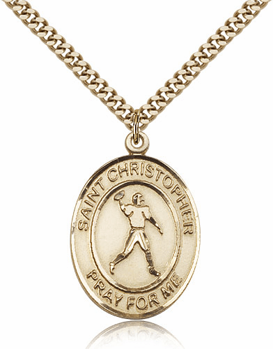 St Christopher Football Player 14kt Gold-Filled Sports Necklace by Bliss