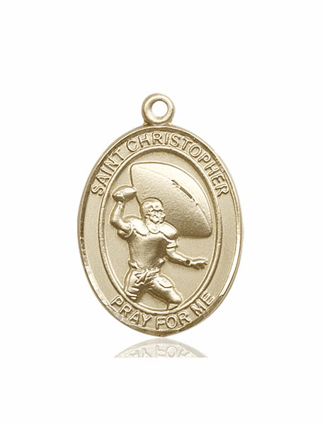 St Christopher Football Player 14kt Gold Patron Saint Medal by Bliss