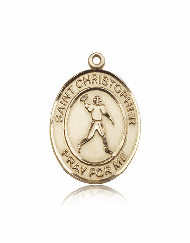 St Christopher Football Player 14kt Gold Sports Saint Medal by Bliss