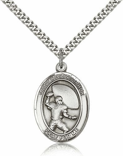 St Christopher Football Player Sterling-Filled Patron Saint Medal by Bliss