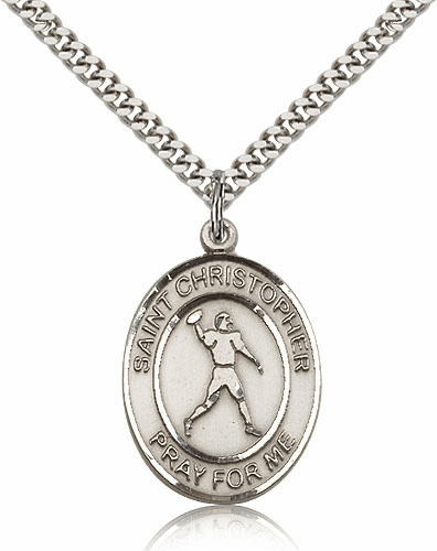 St Christopher Football Player Sterling Silver Necklace by Bliss