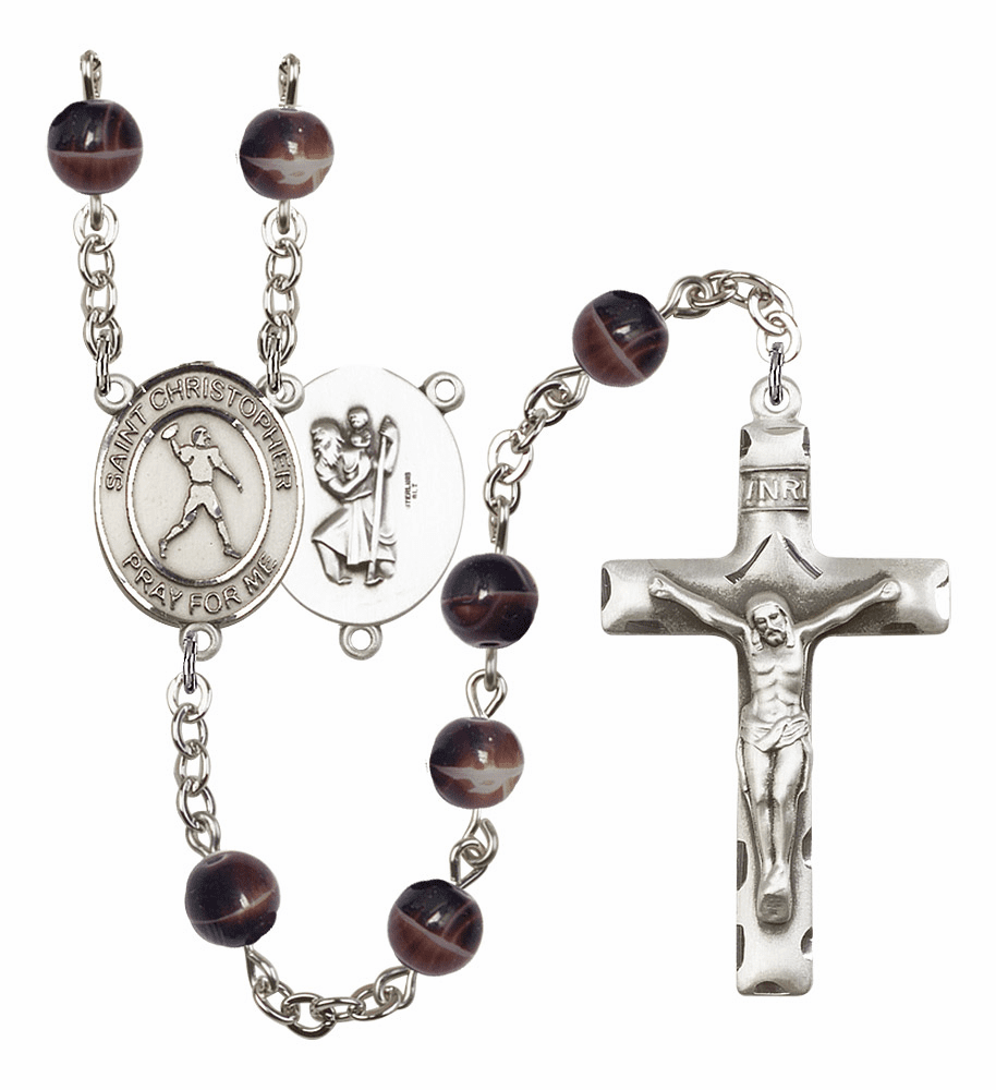 St Christopher Football 7mm Brown Gemstone Rosary by Bliss