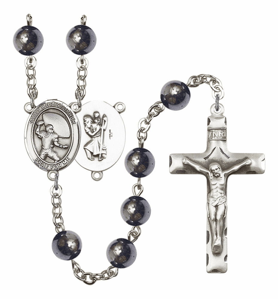 St Christopher Football 8mm Hematite Gemstone Rosary by Bliss