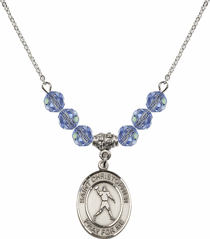 St Christopher Football Swarovski Crystal Beaded Patron Saint Necklace by Bliss Mfg