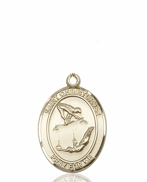 St Christopher Girl's Gymnastics 14kt Gold Sports Medal Pendant by Bliss