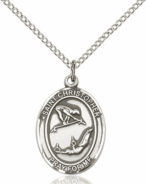 St Christopher Girl's Gymnastics Silver-Filled Patron Saint Medal by Bliss Manufacturing