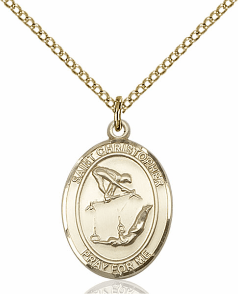 St Christopher Girl's Gymnastics Sports 14kt Gold-Filled Pendant Necklace by Bliss