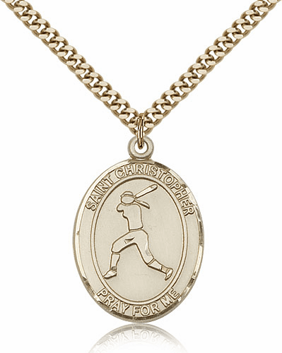 St Christopher Girl's Softball Player 14kt Gold-Filled Pendant Necklace by Bliss