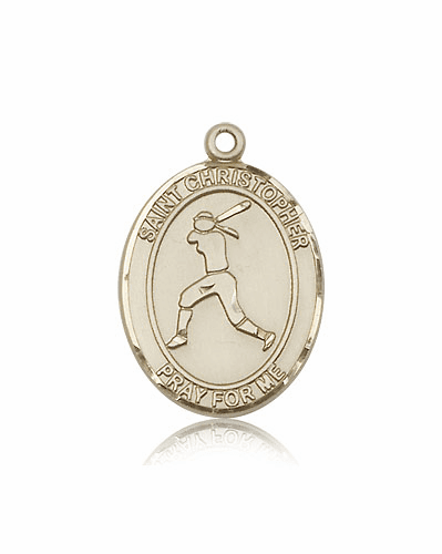 St Christopher Girl's Softball Player 14kt Gold Sports Medal Pendant by Bliss