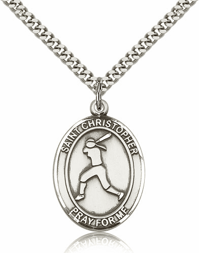 St Christopher Girl's Softball Player Silver-Filled Patron Saint Medal by Bliss