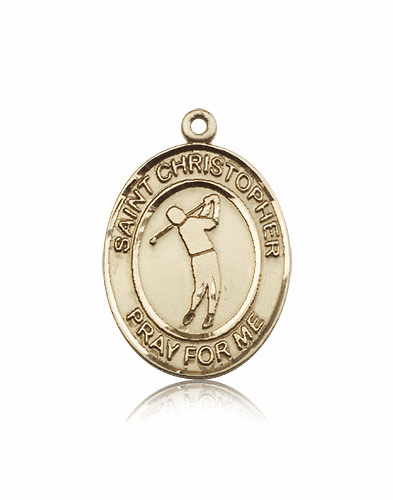 St Christopher Golf 14kt Gold Sports Medal Pendant by Bliss