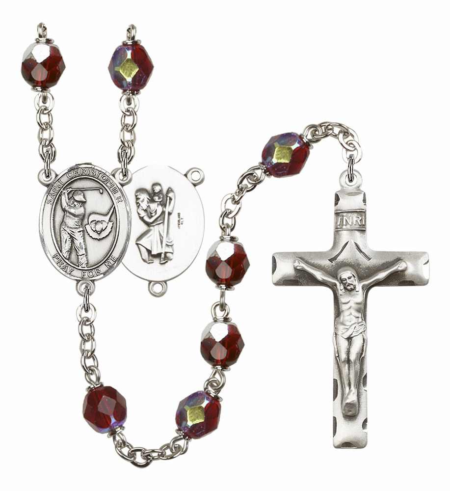 St Christopher Golf 7mm Lock Link AB Garnet Rosary by Bliss Mfg