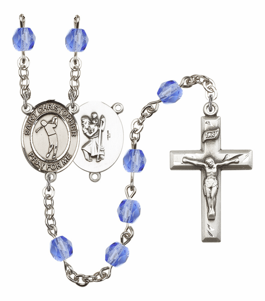 St Christopher Golf Athlete Birthstone Rosary - More Colors