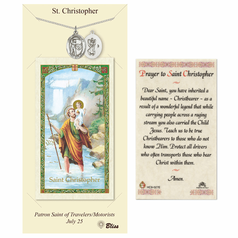 St Christopher Golf Pewter Necklace with Prayer Card Set by Bliss