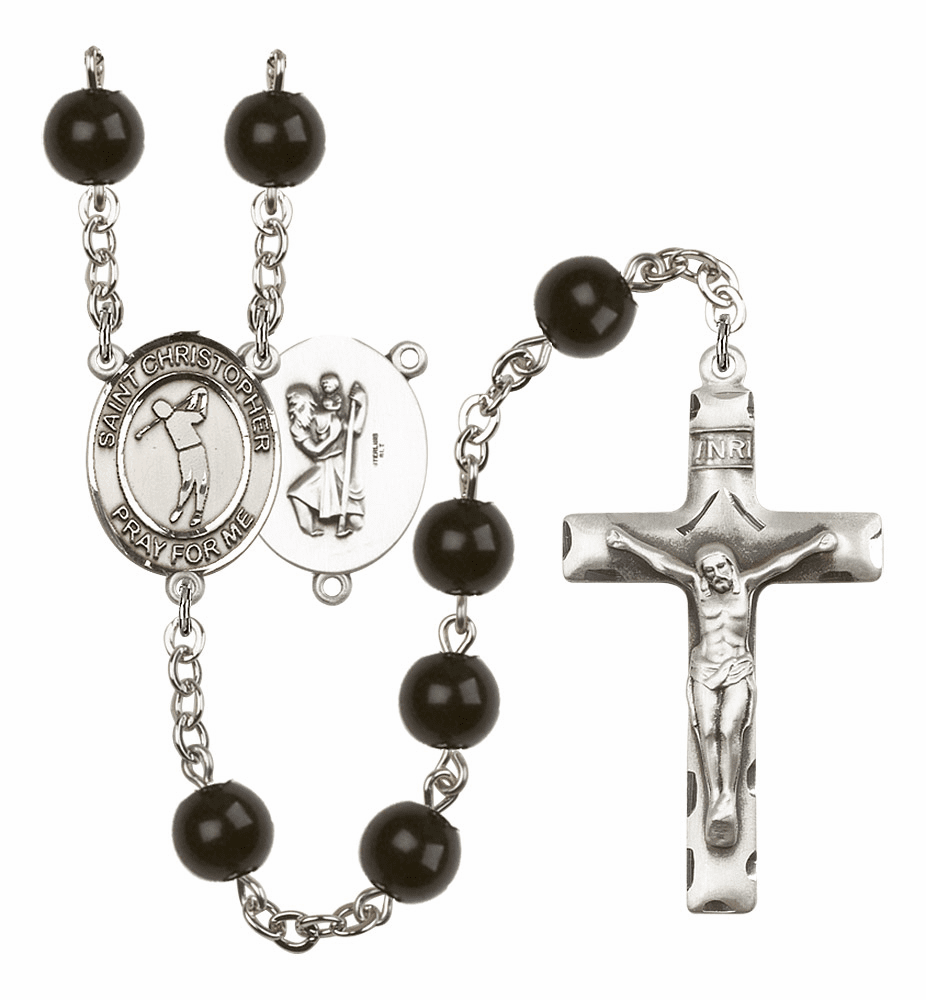Bliss Mfg St Christopher Golf 7mm Black Onyx Rosary