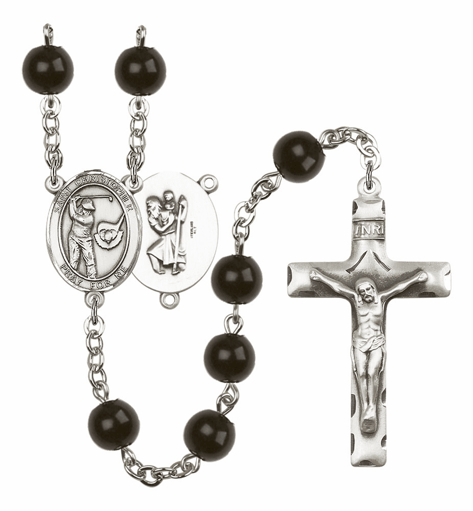 Bliss Mfg St Christopher Golf Silver 7mm Black Onyx Rosary