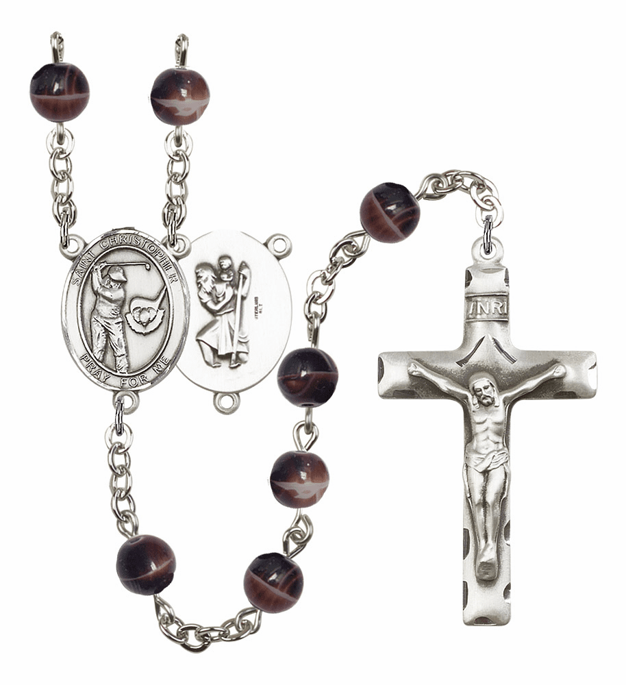 St Christopher Golf 7mm Brown Gemstone Rosary by Bliss