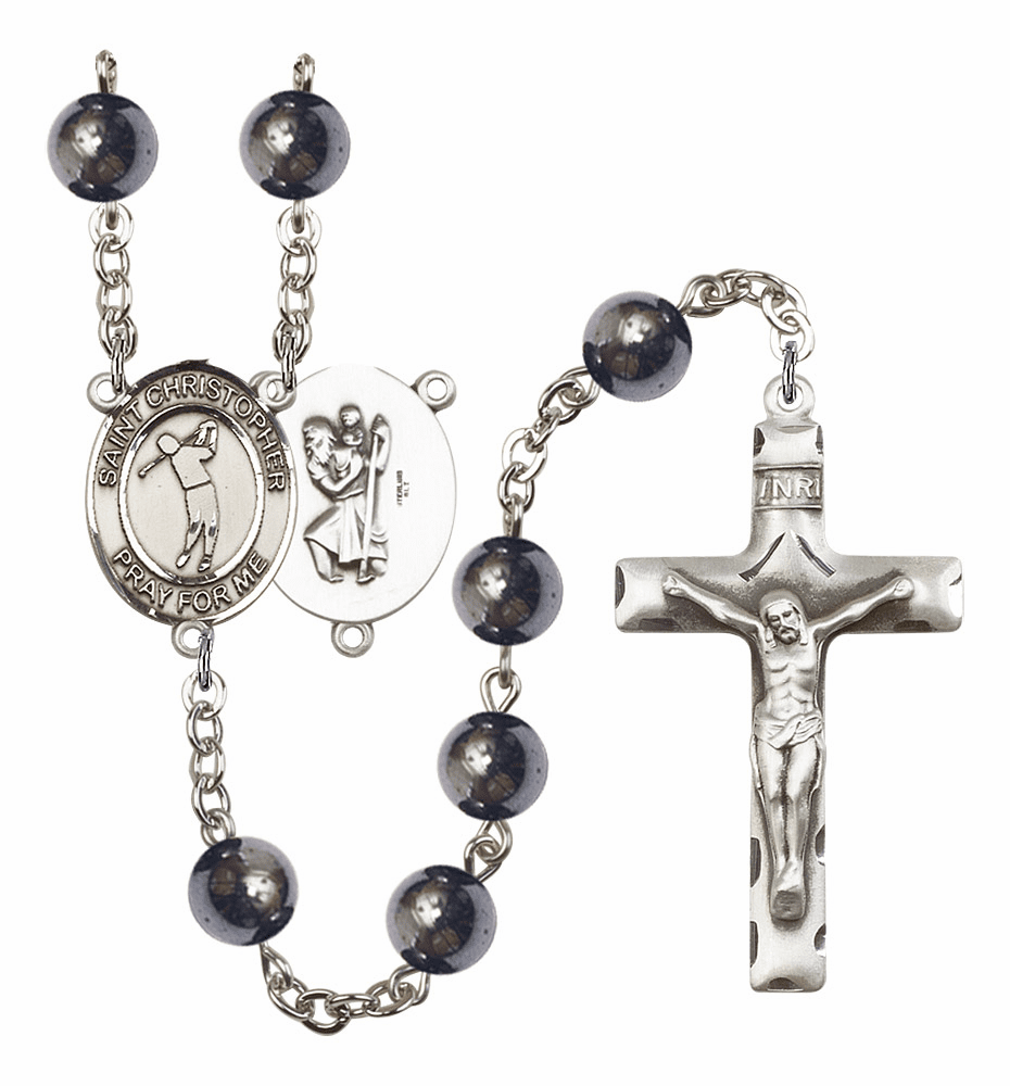 St Christopher Golf 8mm Hematite Gemstone Rosary by Bliss