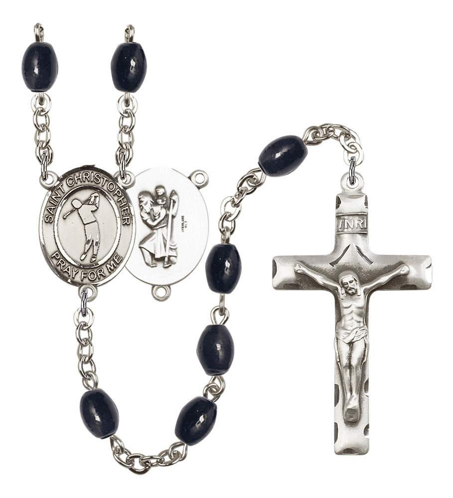 St Christopher Golf 8x6mm Black Onyx Gemstone Rosary by Bliss