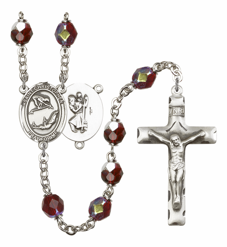 St Christopher Gymnastics 7mm Lock Link Aurora Borealis Garnet Rosary by Bliss Mfg