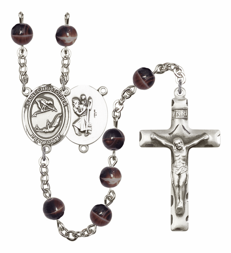 St Christopher Gymnastics Silver Plate 7mm Brown Gemstone Prayer Rosary by Bliss