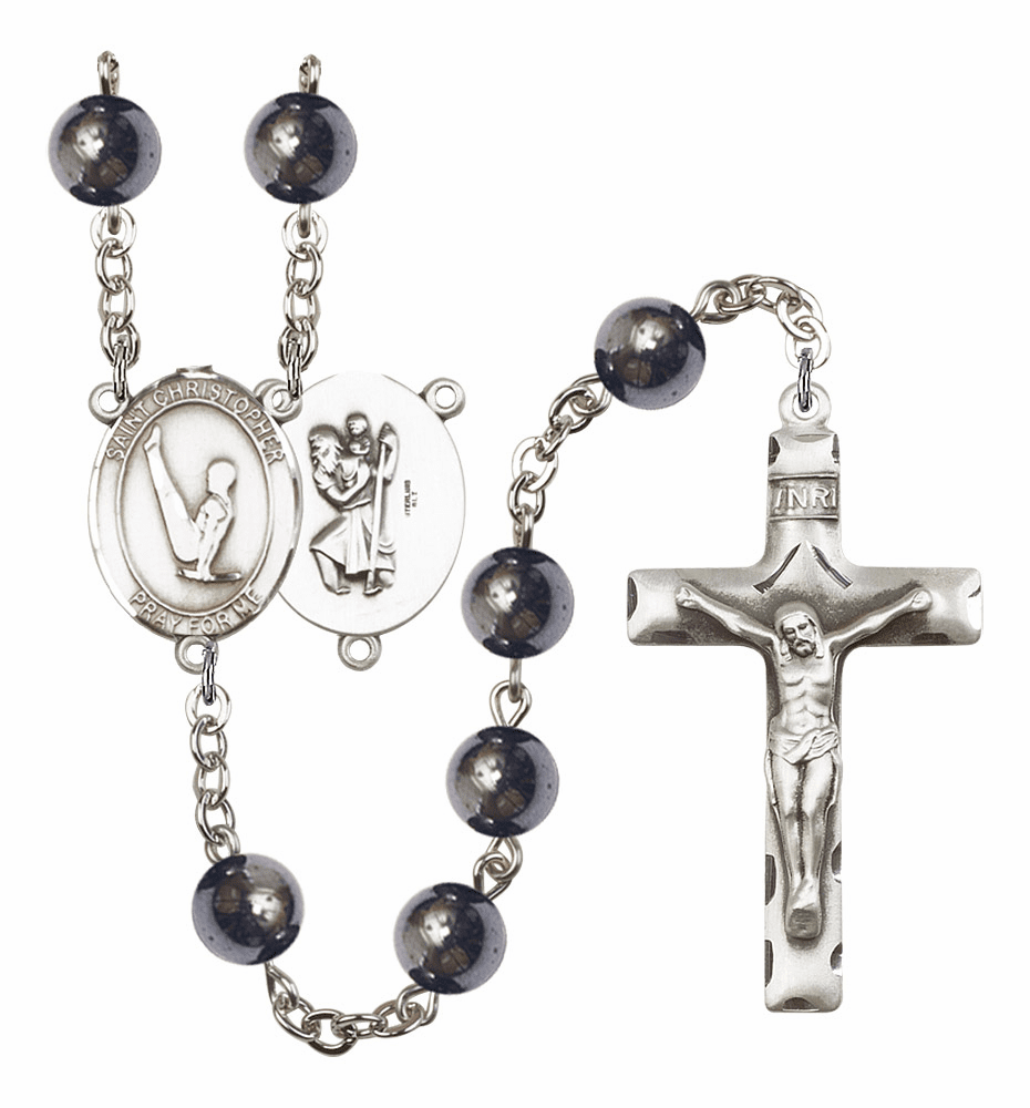 St Christopher Gymnastics Silver Plate 8mm Hematite Gemstone Prayer Rosary by Bliss