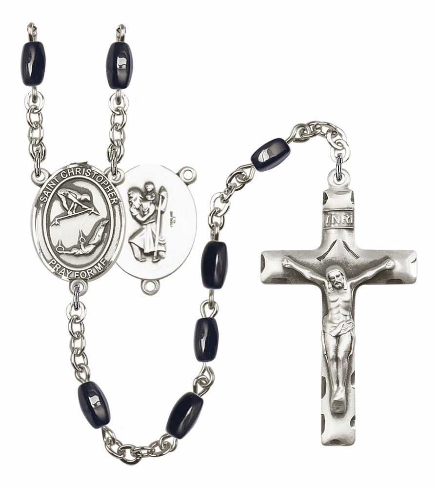 St Christopher Gymnastics Silver Plate 8x5mm Black Onyx Gemstone Prayer Rosary by Bliss