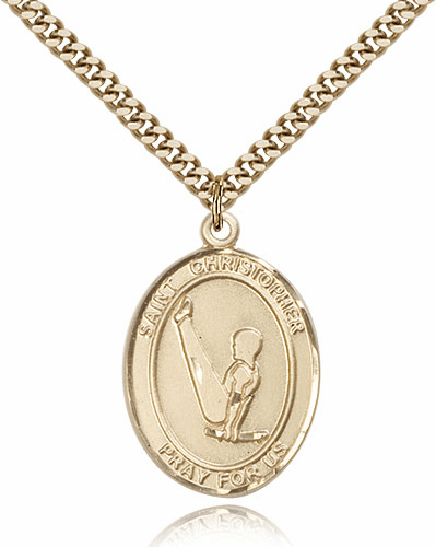 St Christopher Gymnastics Sports 14kt Gold Filled Medal Pendant by Bliss