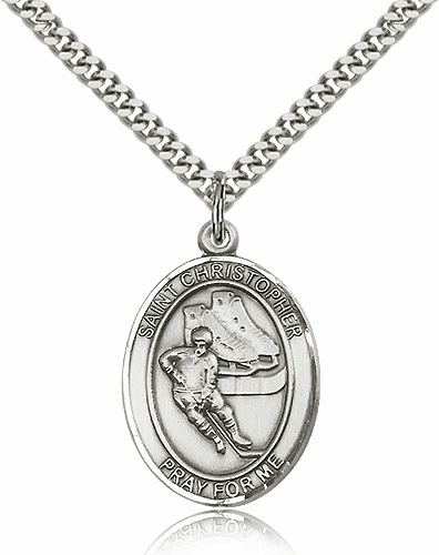 St Christopher Hockey Sports Saint Sterling Medal Necklace by Bliss