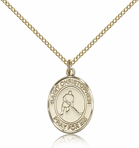 St Christopher Ice Hockey 14kt Gold-Filled Saint Pendant by Bliss