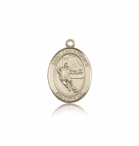 St Christopher Ice Hockey 14kt Gold Patron Saint Pendant by Bliss