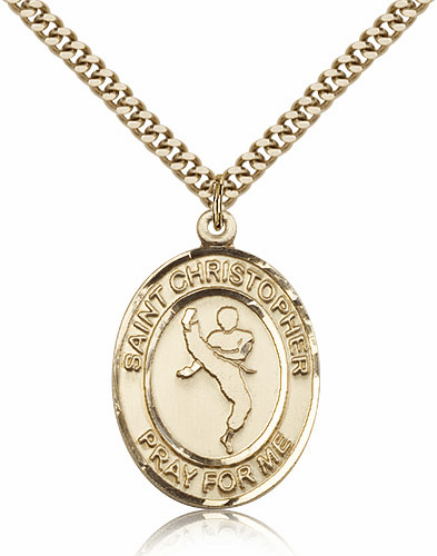 St Christopher Karate Martial Arts Gold-Filled Saint Necklace by Bliss