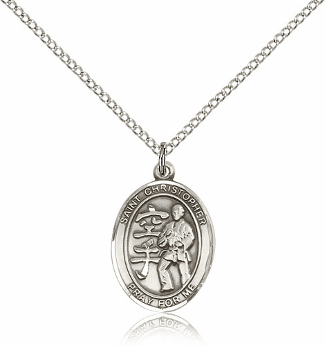 St Christopher Karate Martial Arts Sterling Silver Pendant
