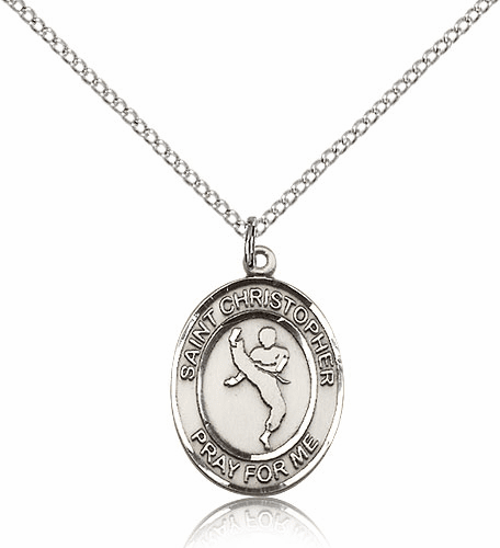 St Christopher Karate Martial Arts Sterling Silver Saint Medal by Bliss