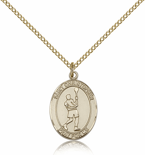 St Christopher Lacrosse 14kt Gold-Filled Pendant By Bliss