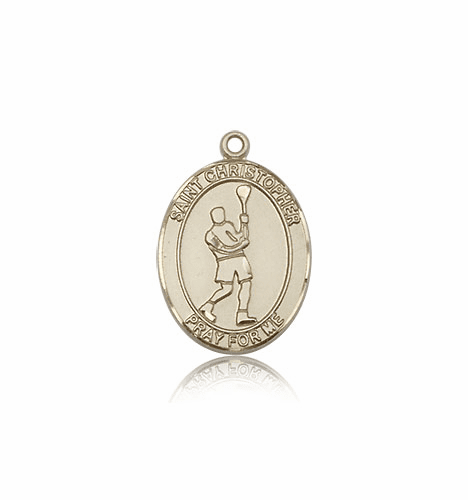 St Christopher Lacrosse 14kt Gold Pendant By Bliss
