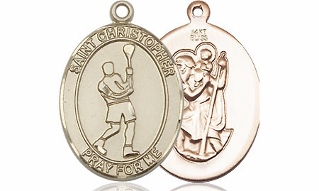 St Christopher Lacrosse 14kt Yellow Gold Medal Pendant by Bliss