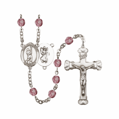 St Christopher Lacrosse Athlete Birthstone Rosary - More Colors