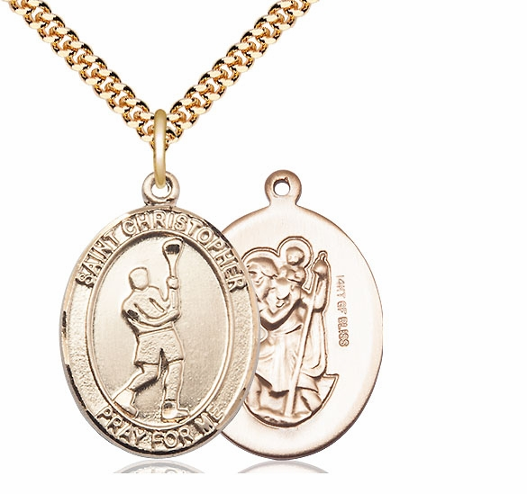 St Christopher Lacrosse Gold Filled Medal Necklace by Bliss