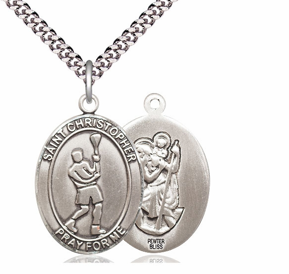 St Christopher Lacrosse Pewter Medal Necklace by Bliss