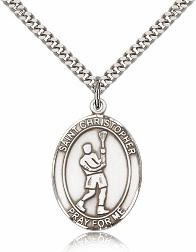 St Christopher Lacrosse Sterling Silver Pendant By Bliss