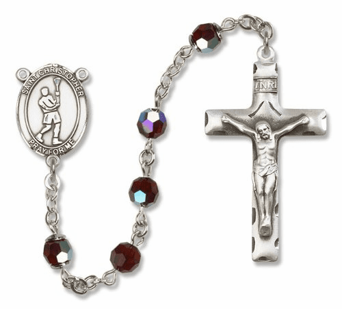 St Christopher Lacrosse Sterling Silver Saint Rosary